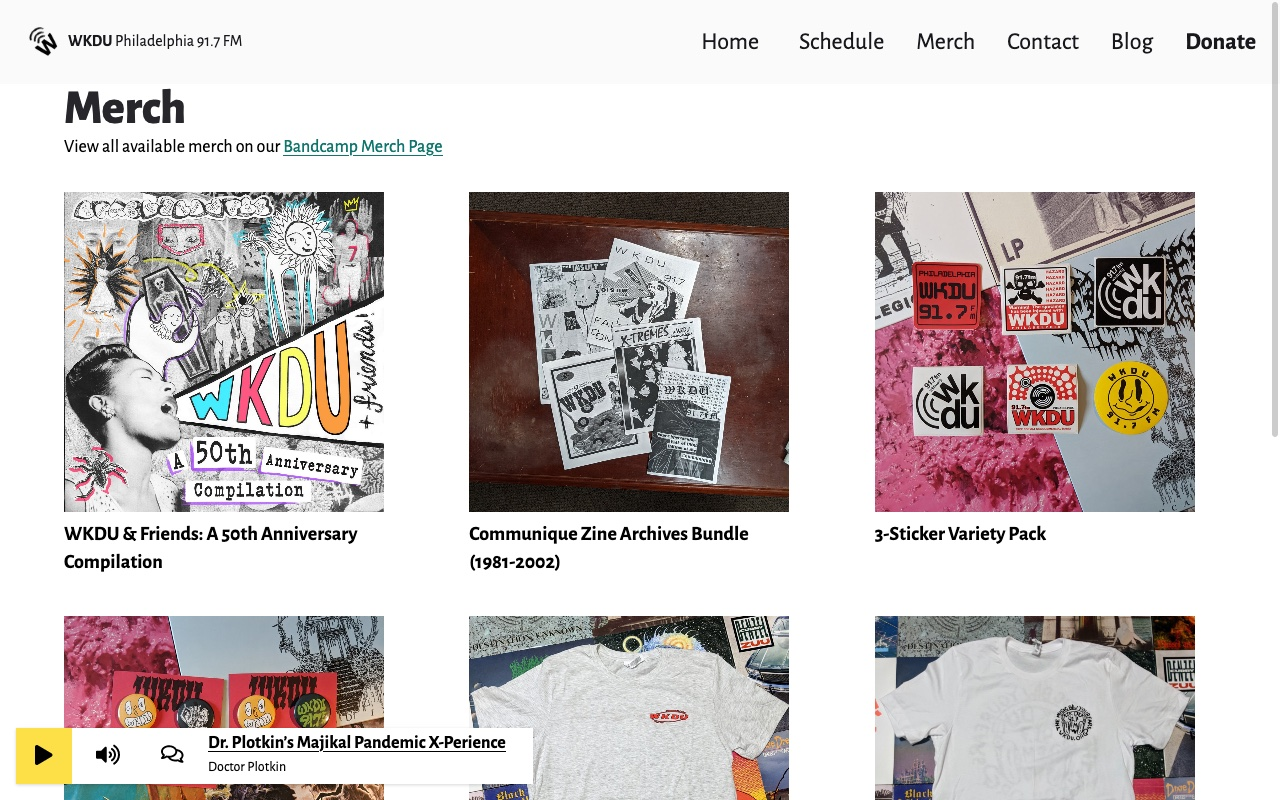 Merch page from new WKDU.org site