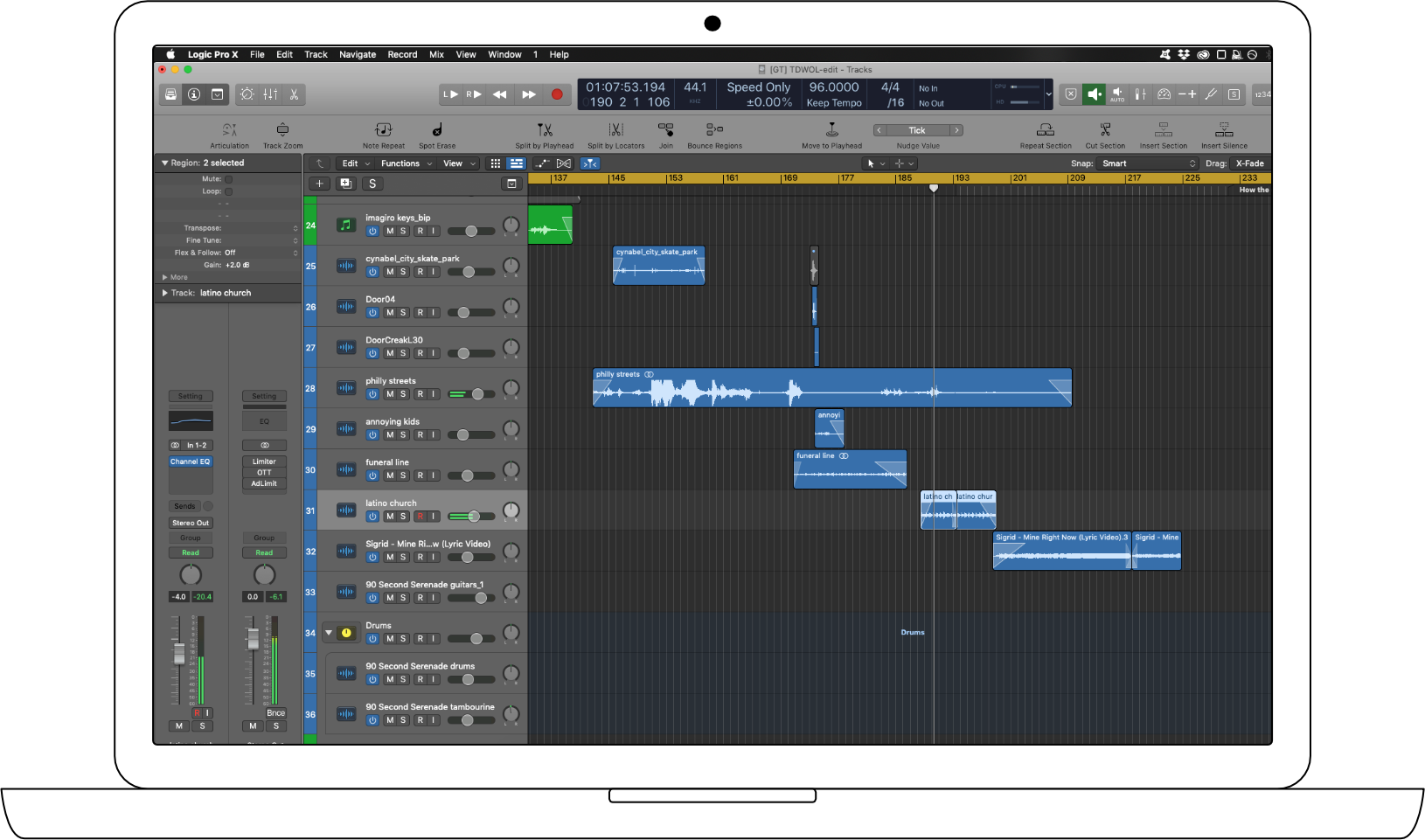 Editing/Voiceover session in Logic Pro