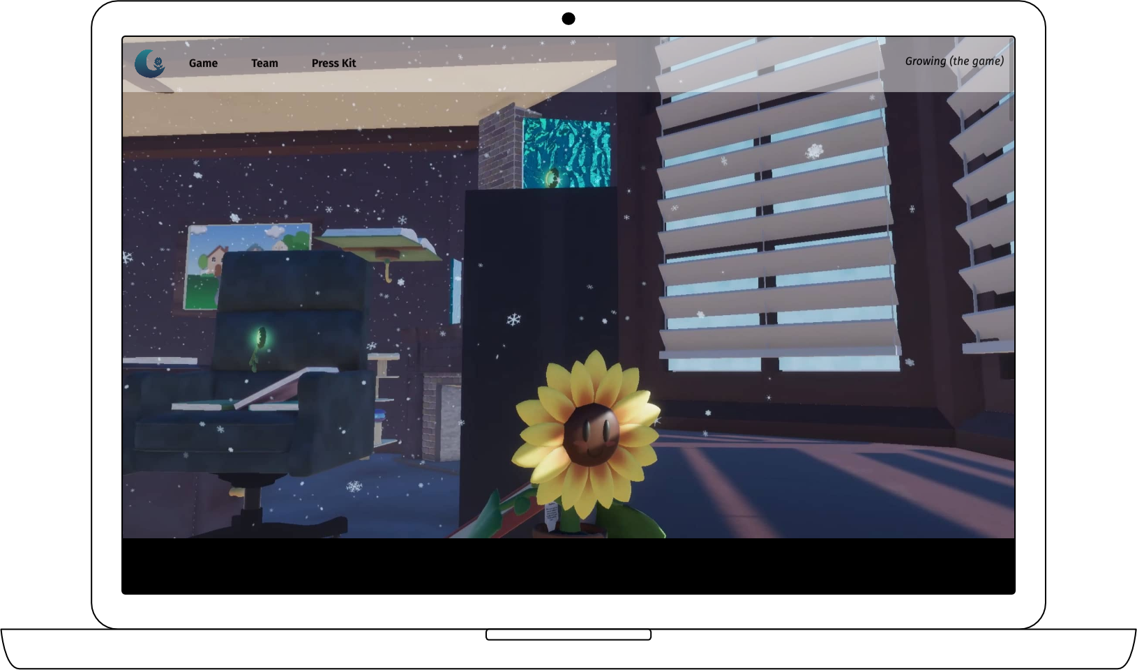 Website featuring hero image of the playable sunflower
