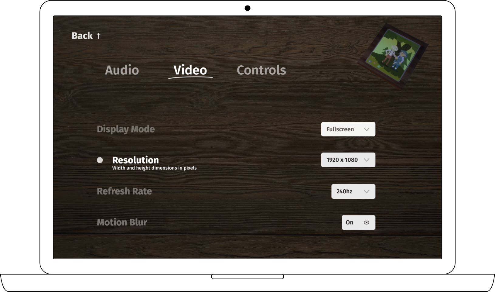 UI mockup for video settings page