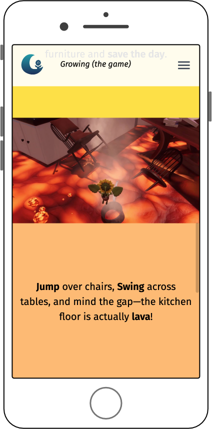 Website with flavor text enticing users to play the game