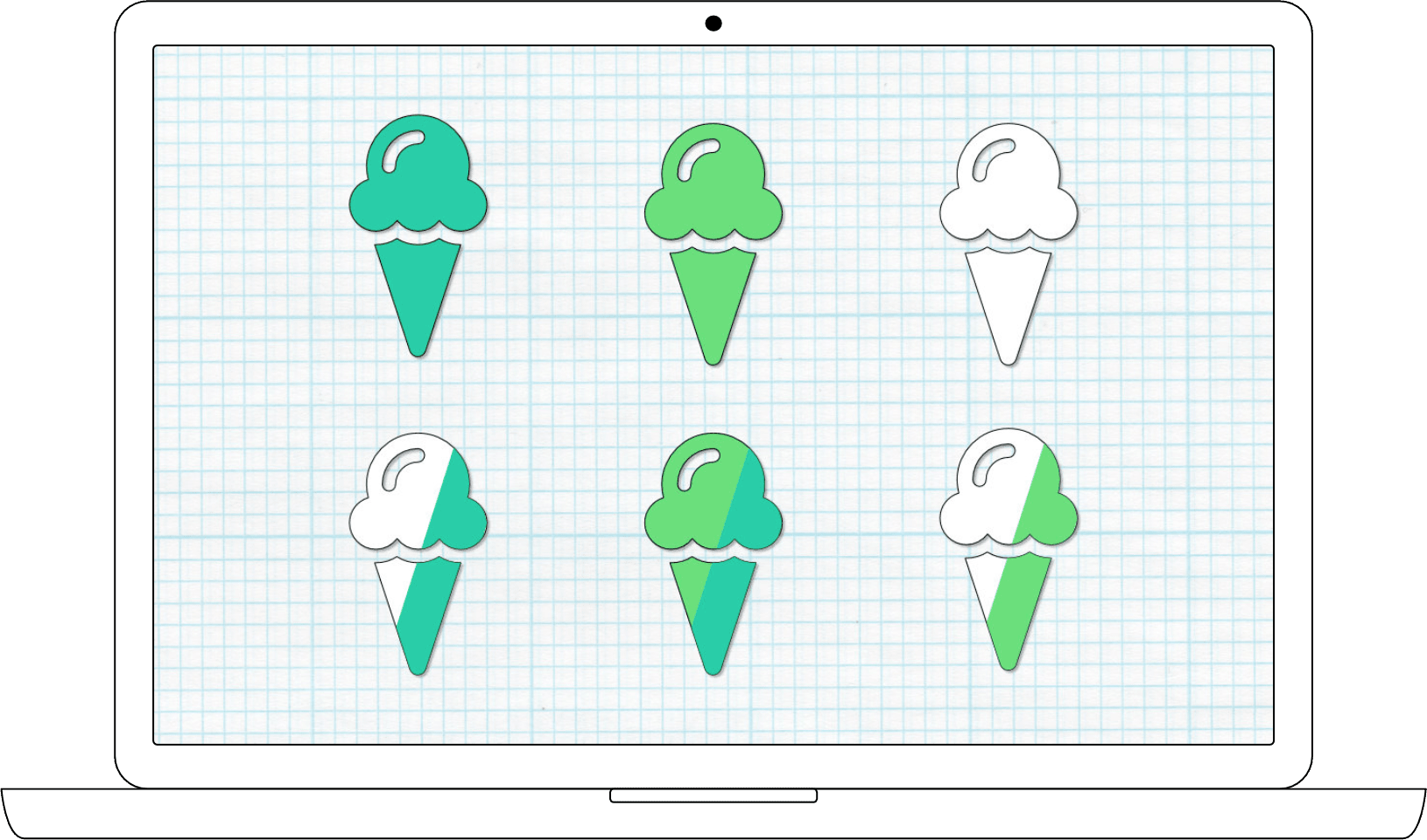 Custom map pins including split color designs for indecisive participants