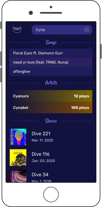 Users can search all songs, playlists, and artists
