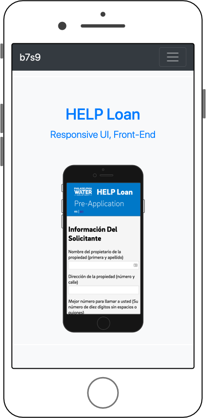 Mobile project page with screenshots and short descriptions