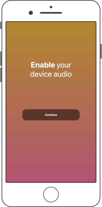 Splash screen reminding users to unmute their phone